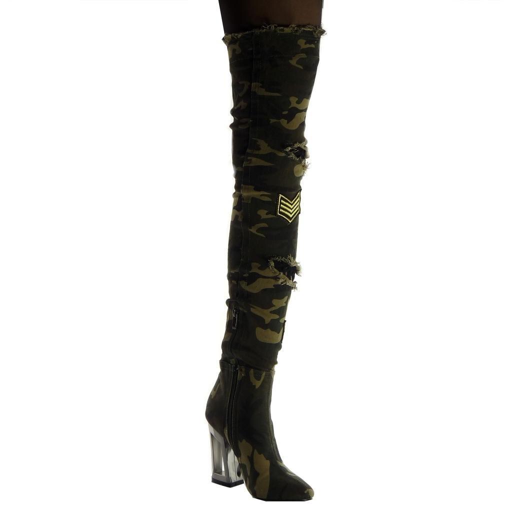Angkorly Chaussure Mode Cuissarde Botte Souple Cavalier Motard Femme déchiré résille Camouflage Talon Haut Bloc 10.5 CM