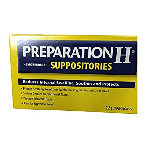 Amazon.com: Preparation H Hemorrhoidal Suppositories 12 ea (Pack of 6): Health & Personal Care