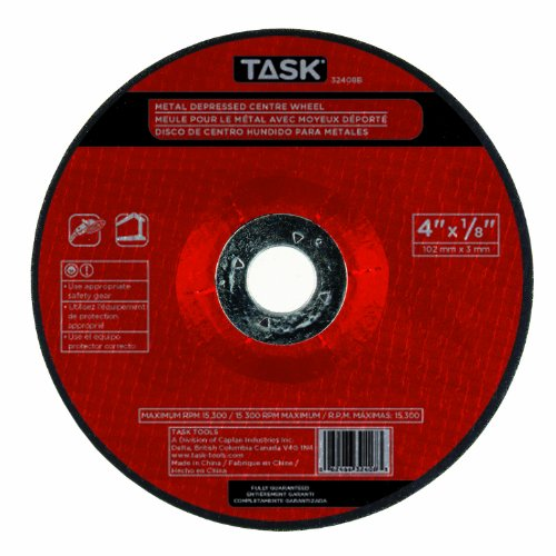 Task Tools 32408B 4-Inch by 1/8-Inch Metal Cutting Wheel with Depressed Center