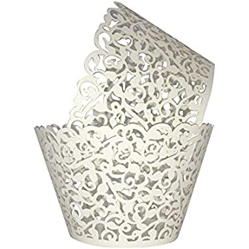 Cupcake Wrappers 100pcs/pack Creamy White Lace Cupcake Liners Laser cut Cupcake Papers cupcake cups Muffin cups for Wedding/Birthday Party Decoration(FREE GIFT INCLUDED: 15 PACK CAKE TOPPERS)