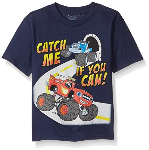 Blaze and the Monster Machines Little Boys' Toddler Short Sleeve T-Shirt, Navy Blue, 3T Blaze Apparel