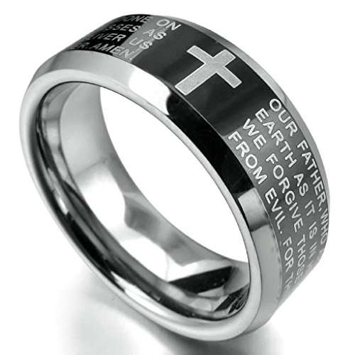 Aooaz Stainless Steel Ring For Men Bible Lords Christ Cross Bevel Edge Black Silver Retro Gothic Size 13]()