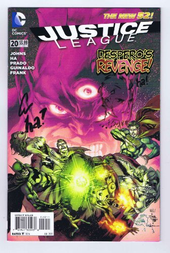 Autographed Print (Justice League #20 Gene Ha Signed w/COA w/ Head Sketch 1st Print VF/NM 2013 DC New ...)