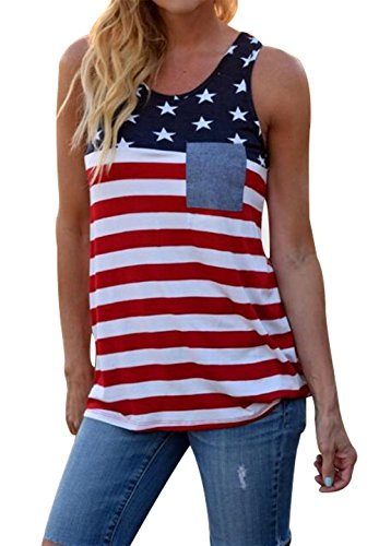 BANGELY Women's American USA Flag Stripe Star Patriotic Tank Tops Pocket Casual Racerback Vest T Shirt Size Medium -