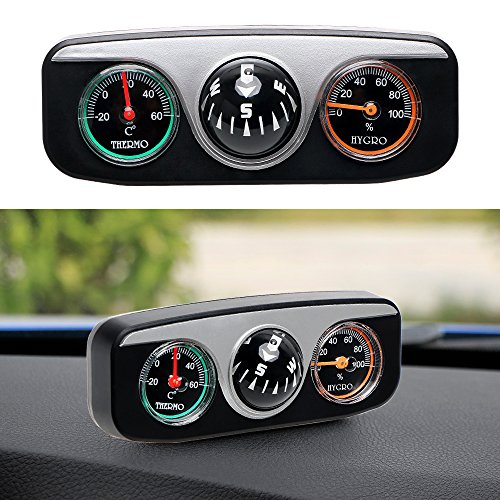 Car Styling 3 in 1 Guide Ball Compass Thermometer Hygrometer Car Ornaments Interior Accessories For Auto Boat ()