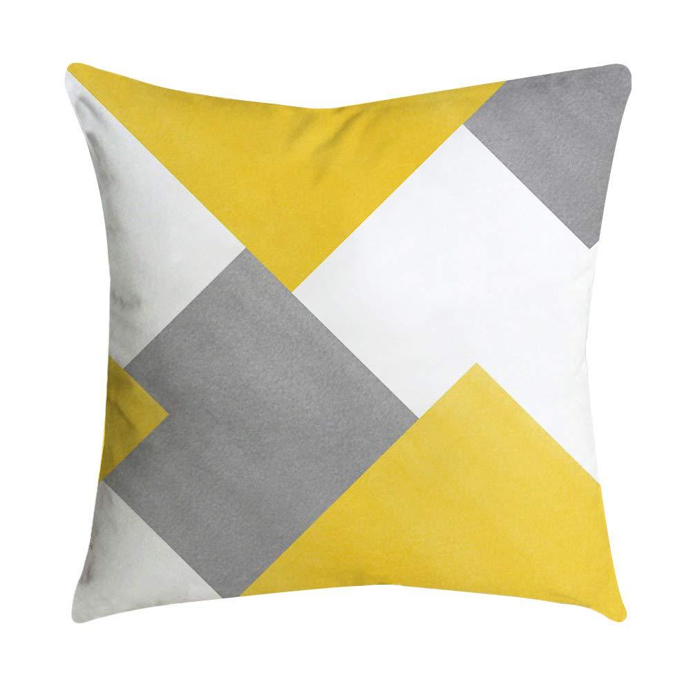 Weiliru Pillow Case-Yellow Stripe Pattern Standard Size 45cmx45cm Pillow Protectors Reversible Cotton Pillow Covers Decorative,Envelope Closure