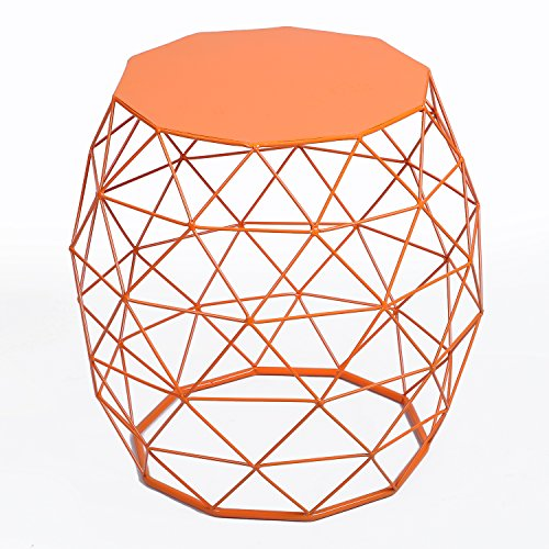 Adeco Home Garden Accents Wire Round Iron Metal Stool Side Table Plant Stand Chair, Hatched Diamond Pattern, for Indoor, Orange Red