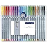 Staedtler Triplus Fineliner Pens, .3mm, Metal Clad Tip, 20-Pack, Assorted (334SB20BK) - 2 PACK