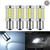 KATUR 4pcs 1156 BA15S 1141 7056 5630 33-SMD White 900 Lumens 6000K Super Bright LED Turn Tail Brake Stop Signal Light Lamp Bulb 12V 3.6W