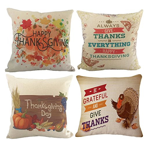 Wonder4 Thanksgiving Decorative Throw Pillow Covers Cotton Linen Home Decor Design Thanksgiving Decorations for Home Sofa Bedding Throw Pillow Case Cushion Covers 18x18 Inch Set of 4