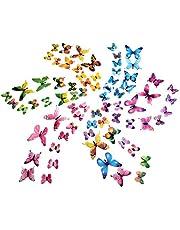 Luminous 3D vlinderstickers, wandsticker, wandsticker, wanddecoratie, voor decoratie, 72 stuks, 12 veelkleurig + 12 groen + 12 roze + 12 geel + 12 lila + 12 blauw)