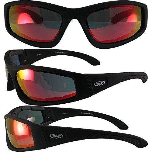 Global Vision Triumphant G Tech Motorcycle Sunglasses Black Frames Red Lens Ansi Z87