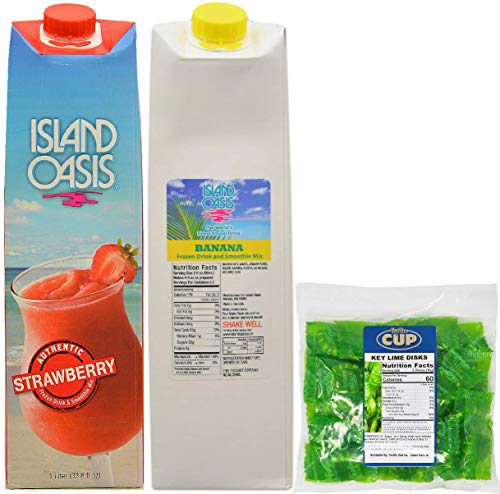 Island Oasis Drink Mix Variety Strawberry and Banana 1 Liter Each, with By The Cup Key Lime - Mix Mix Daiquiri Drink