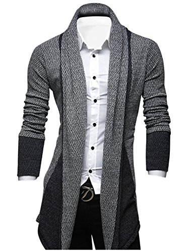 TAM WARE Mens Classic Fashion Marled Open-Front Shawl Collar Cardigan TWGG1308-GRAY-US M