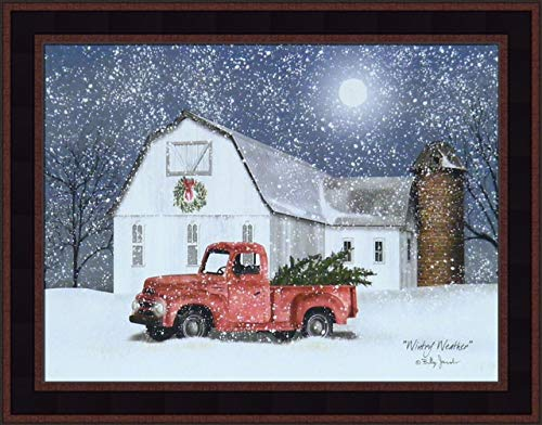 Home Cabin Décor Wintry Weather by Billy Jacobs 15x19 Farm Barn Old Truck Christmas Trees Wreath Silo Full Moon Winter Seasons Framed Folk Art Print Picture