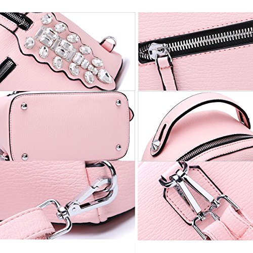 Black Book Pu With Bag Casual Faux Backpack Leather Flada Fashion Backpack Diamond Daily Girls Pink AxPxB