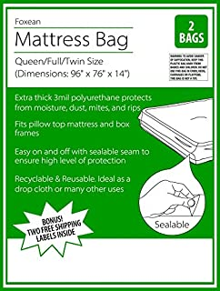 foxean 2 pack super duty sealable mattress bag and protector for moving or long - Mattress Bags