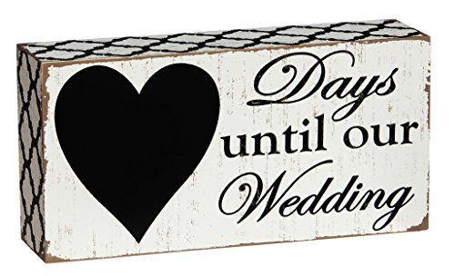 "Cypress Home Days Until Our Wedding Countdown Wooden Chalkboard Sign - 8""W x 2""D x 4""H - Weave Print Shirt Basket"