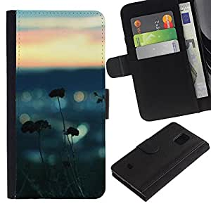 Billetera de Cuero Caso Titular de la tarjeta Carcasa Funda para Samsung Galaxy S5 Mini, SM-G800, NOT S5 REGULAR! / Sea Summer Nature Blurry Focus Beach / STRONG