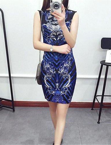 PU&PU Robe Aux femmes Moulante Street Chic,Imprimé Col Arrondi Mi-long Nylon , blue-l , blue-l