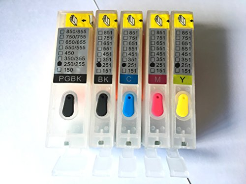 5pcs PGI-250 CLI-251 Empty Refillable Ink Cartridge For MG5420 IP7220 MX722 MX922 MG5520 MG6420 MG5620 MG6620 MG5522 iX6820 printers Empty Ink Cartridge
