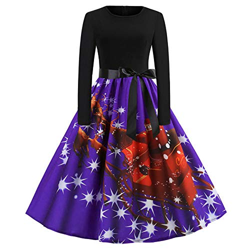 Womens Christmas Dress Long Sleeve Pullover Swing Flared Cocktail Party Dresses A Line Xmas Midi Dress HunYUN ()