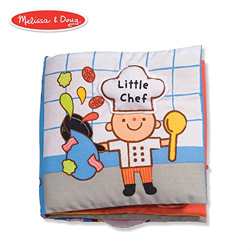 Melissa & Doug Soft Activity Book - Little Chef (Developmental Toys, Interactive Cloth Lift-the-Flap Baby Book, Machine Washable)