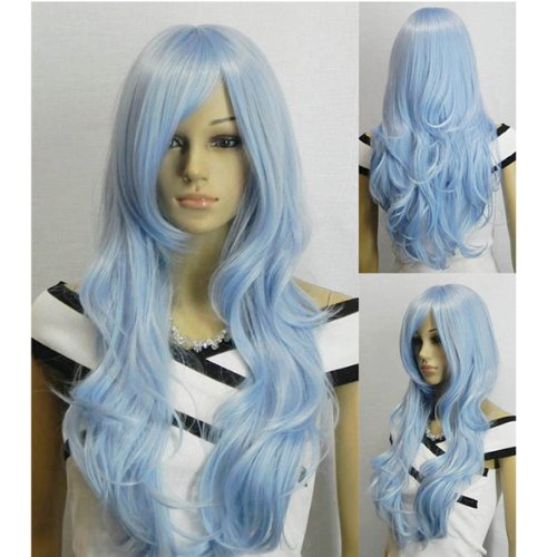 AGPTEK 33 inch Heat Resistant Curly Wavy Long Cosplay Halloween Wigs for Women - Light Blue -