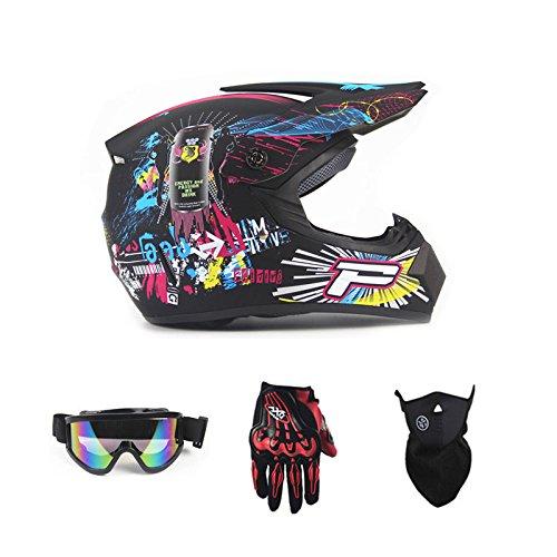 Mountain Motorrad Helm, Full Face Off Road Helm, Motorrad leichte Helme MTB DH Racing Helm (Handschuhe, Brille, Maske, 4er Set),B,M