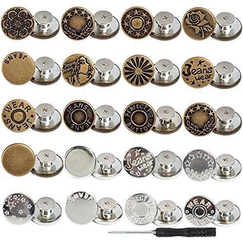 J.CARP 20Pcs 17mm Button for Sewing Metal Jeans, Perfect Fit Jean Button Replacement, No-Sew Nailess Removable Metal Jean Buttons Replacement Repair Combo Thread Rivets and Screwdrivers