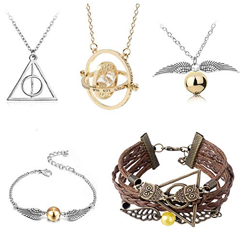 4MEMORYS Harry Potter Necklace Bracelet Earrings Set Time Turner Deathly Hallows Golden Snitch for Harry Potter Fans Gifts Collection Magical Cosplay Costume Jewelry (with Brown Bracelet)