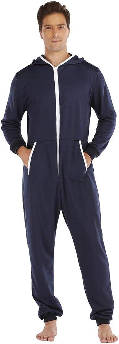 Ketamyy Hombre Pijama Mono Entero con Capucha Color Sólido Casual Cremallera Manga Larga Jumpsuit Adulto Una Pieza Invierno Otoño Cómodo Loungewear ...