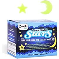 Boxiki Kids Pack of 300 Glowing Stars & Moon |...