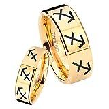 women and men Titanium 8 Sagittarius Horoscope Gold IP Pipe Cut Wedding Ring Set Size 6, 10