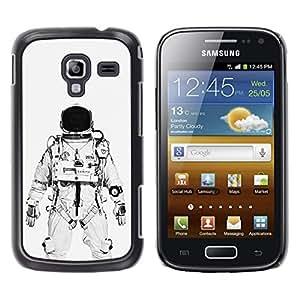 Shell-Star Arte & diseño plástico duro Fundas Cover Cubre Hard Case Cover para Samsung Galaxy Ace 2 I8160 / Ace2 II XS7560M ( Astronaut Cosmonaut White Black )
