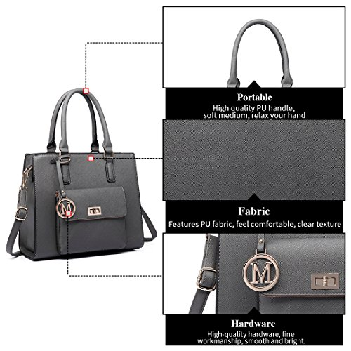 Ladies Leather Handbags Bags Grey Designer Miss 6635 Faux Lulu Tote Women Shoulder zIxqwXf0