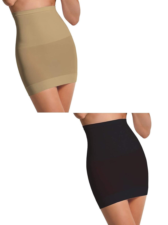 SENSI' Shapewear Damen Miederrock Hohe Taille Unterrock Seamless Mikrofaser Nahtlos Atmungsaktiv Antibakteriell Eco Made in Italy XS S/M M/L L/XL Schwarz Weiss Beige