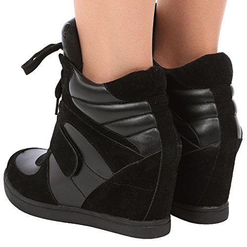 af213de4da97 ByPublicDemand Becky Womens Concealed Wedge Heel Lace Up Trainers  Amazon.co .uk  Shoes   Bags