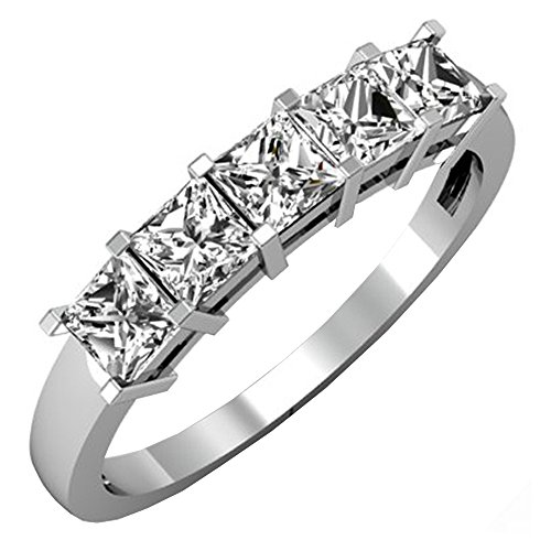 Dazzlingrock Collection 1.00 Carat (ctw) 14k White Gold Princess Cut Diamond Ladies 5 Stone Bridal Wedding Band 1 CT (Size 7)
