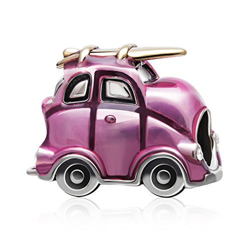 Little Car Charm Authentic 925 Sterling Silver Bead Pink Enamel and Gold Plated Travel Style (Sterling Silver Car Charm)