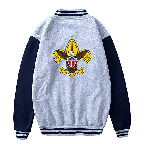 (FANZAO Teen Boy Scouting Baseball Jacket Uniform Unisex Coat Gray)