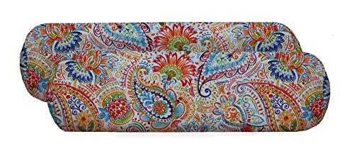 RSH Décor Set of 2 Indoor Outdoor Decorative Jumbo Bolster Neckroll Throw Toss Pillows Available in Various Fabrics & 2 Sizes (24