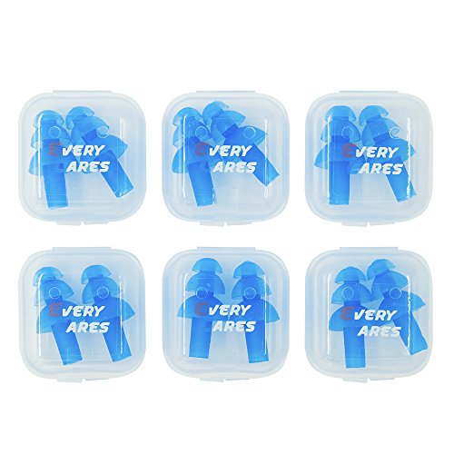 Every Cares Silicone Swimming Earplugs, 6 Pairs, Comfortable, Waterproof, Ear Plugs for Swimming and Showering, with Case (Blue)