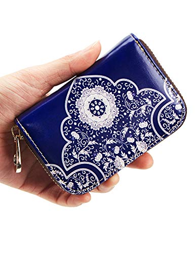 ANBENEED Genuine Leather RFID Blocking Credit Card Holder Case Small Zipper Accordion Wallets For Women Ladies Girls(Blue Flower)