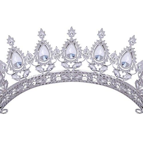 FUMUD Designs Vintage Peacock Full Cubic Zirconia Tiara Bridal Wedding Hair Accessories Birthday Party Crown Jewelry (Plating Platinum) by FUMUD (Image #6)