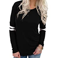 Oasisocean Womens Striped Tops Casual O Neck Baseball Tee Shirt Long Sleeve Blouse Color Block Button Henley Shirts