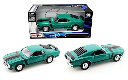 New 1:24 W/B SPECIAL EDITION - GREEN 1970 FORD MUSTANG BOSS 302 Diecast Model Car By Maisto