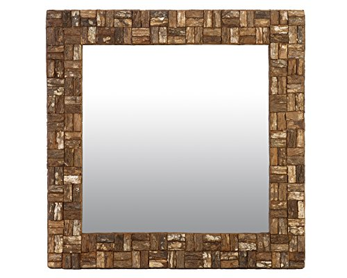 East at Main Marina Brown Transitional Square Rattan Mirror, 35''x2''x35'' by East At Main