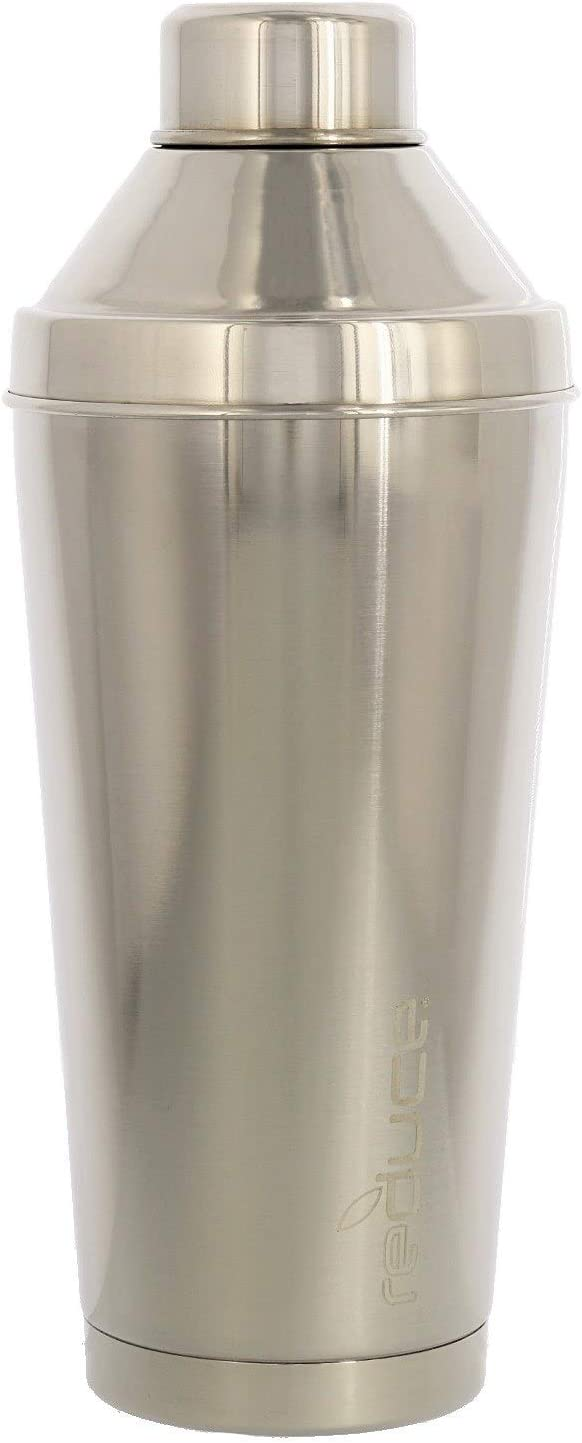 Reduce Vacuum Insulated Stainless Steel Cocktail Shaker with Built-In Strainer and 1oz Shot Cap – Easy to Use Barware Cobbler Shaker - Great Bar Tool for making Drinks, Cocktails – 20oz