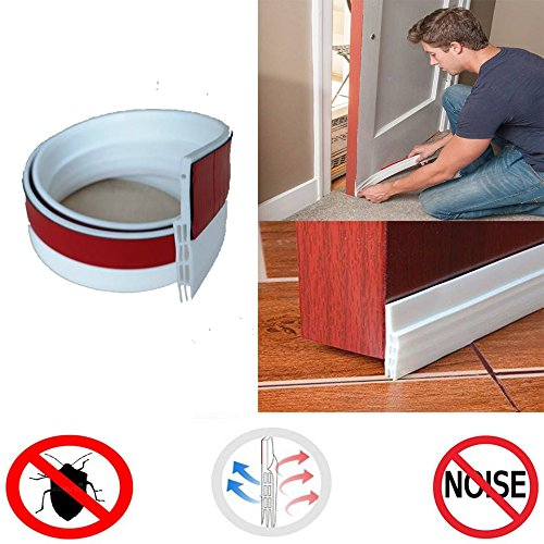 Bottom Door Blocker Under Strip Seal Sweep Weather Stripping Draft Stopper Self-Adhesive Tape Bugs Guard Energy Saver Soundproof Noise Cold Air Gap Insulator 2'' x 39'' (White) by Gadgets of George by Gadgets of George (Image #9)